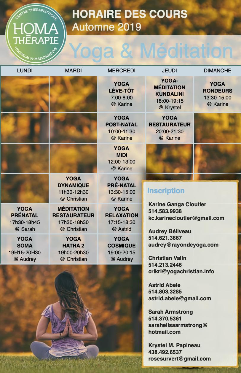 Horaire yoga et méditation